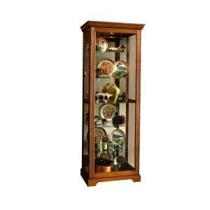 Pulaski Furniture - Sliding Door 5 Shelf Curio Cabinet in Golden Oak Brown