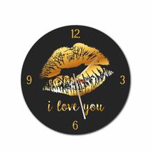 Gold Lips Round Acrylic Wall Clock