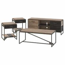 See Details - 60W TV Stand with Coffee Table and Set of 2 End Tables, Rustic Gray/Charred Wood