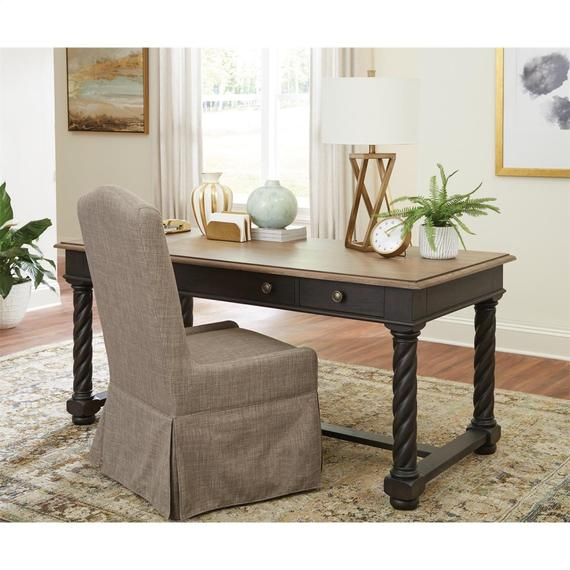 Riverside - Regency - Writing Desk - Antique Oak/matte Black Finish