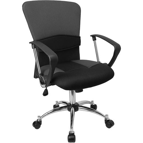 Flash Furniture - Mid-Back Grey Mesh Swivel Task Office Chair with Adjustable Lumbar Support and Arms