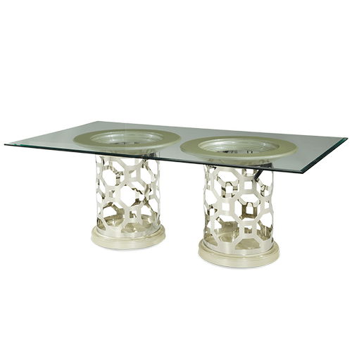 Pearl Rectangular Glass Top Dining Table