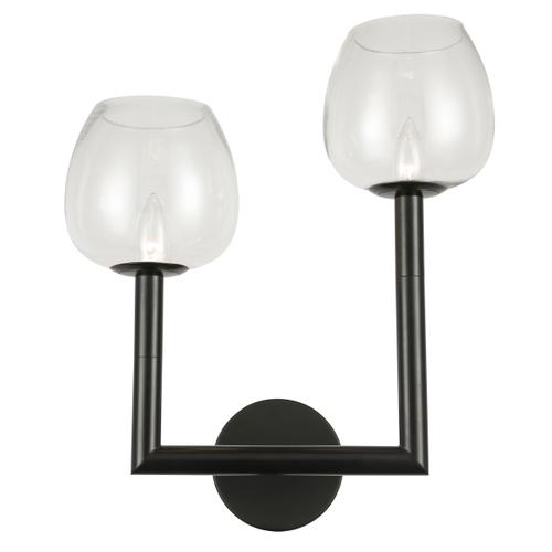 2lt Incandescent Wall Sconce, Mb W/ Clr Glass