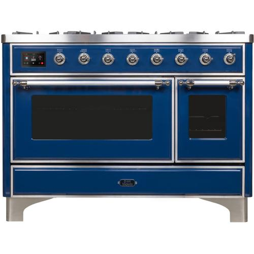 Majestic II 48 Inch Dual Fuel Natural Gas Freestanding Range in Blue with Chrome Trim