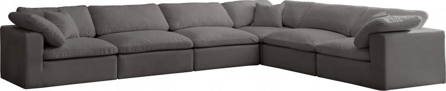 "Cozy Velvet Cloud Modular Down Filled Overstuffed Reversible Sectional - 158"" W x 120"" D x 32"" H"