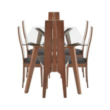 See Details - Aspen 7-piece Dining Set - Walnut Wood, Clear Glass, Charcoal Fabric