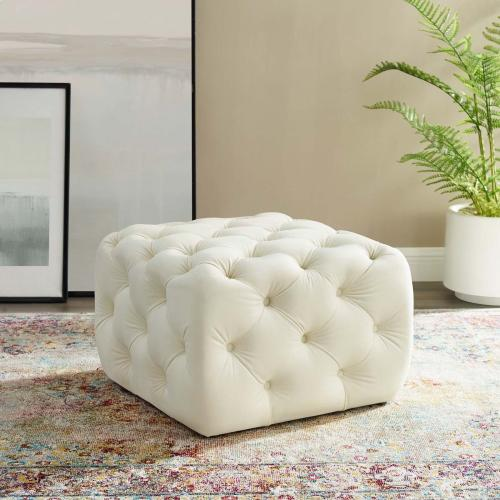 Amour Tufted Button Square Performance Velvet Ottoman in Ivory