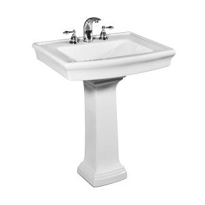 """White JULIAN Pedestal Lavatory, 27"""" Product Image"""