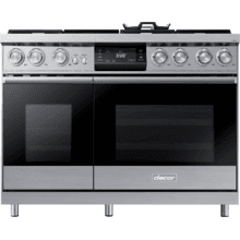 """See Details - 48"""" Pro Dual-Fuel Steam Range, Silver Stainless Steel, Liquid Propane/High Altitude"""