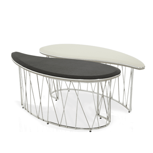 Pearl Caviar w/Black and Gray Oval 2pc Cocktail Table