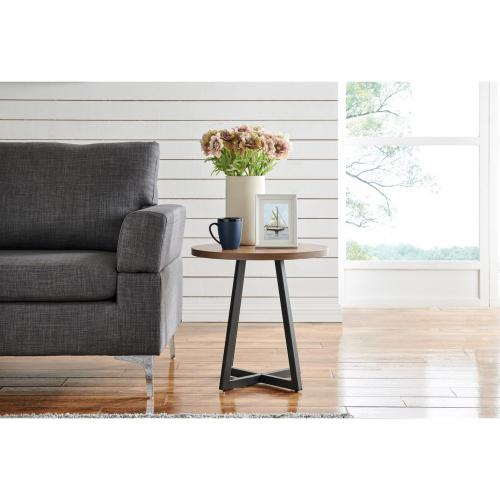 Courtdale KD Round End Table, Gliese Brown