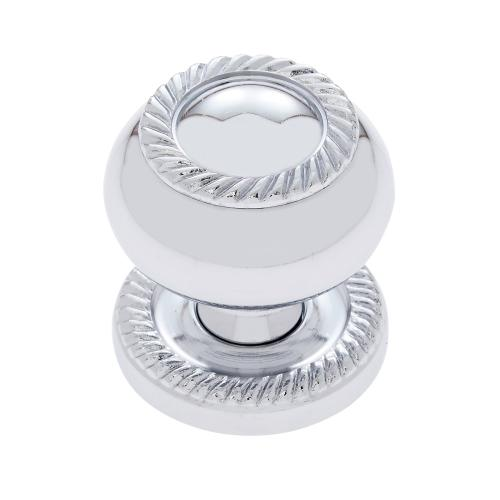 "Polished Chrome 1-1/4"" Rope Knob w/Back Plate"