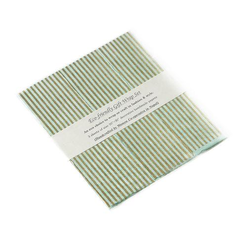 "20"" x 30"" x 3 sheets Mint Gift Wrap (Stripes Option)"