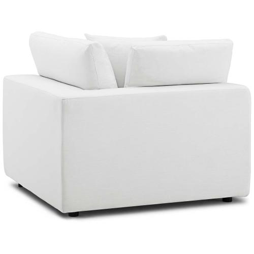 Commix Down Filled Overstuffed Corner Chair in White
