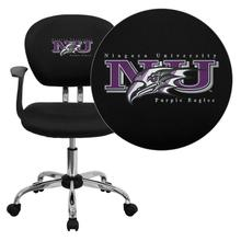 Niagara University Purple Eagles Embroidered Black Mesh Task Chair with Arms and Chrome Base