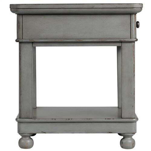 Bella Grigio - Rectangular Side Table - Chipped Gray Finish