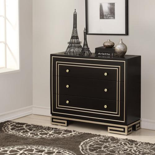 Modern Style Black with Champagne Gold Overlay Accent Drawer Chest