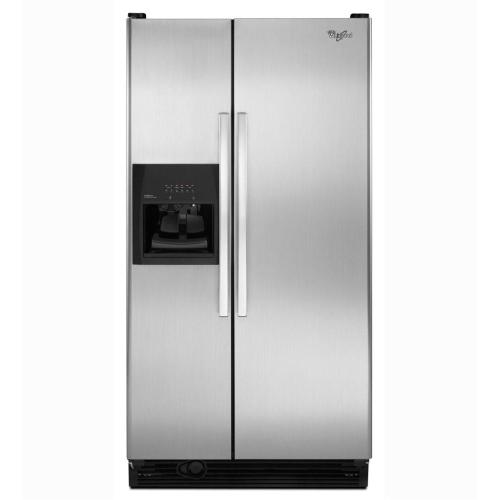 Whirlpool - Refurbished 25 cu. ft. Side-by-Side Refrigerator with Full-Width Adjustable Slide-Out SpillGuard Glass Shelves.  (This is a Stock Photo, actual unit (s) appearance may contain cosmetic blemishes.  Please call store if you would like actual pictures).  This unit carries our 6 month warranty, MANUFACTURER WARRANTY and REBATE NOT VALID with this item. ISI 44478