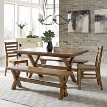 Sedona Rectangular Trestle Dining Table With 2 Benches & 2 Chairs