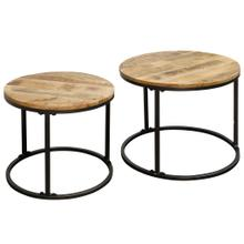 SET OF TWO NESTED ROUND TABLES  26in w X 20in ht X 26 d  Nesting tables with Natural Wood Tops and