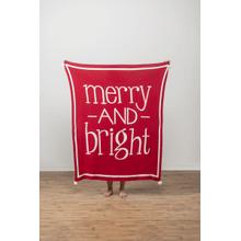 Merry & Bright Knit Throw with Pom Poms