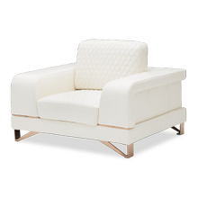 Bianca Leather Chair and Half in White Rose Gold