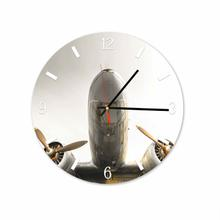Airplane Round Square Acrylic Wall Clock