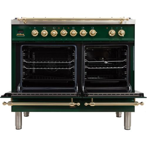 Nostalgie 40 Inch Dual Fuel Liquid Propane Freestanding Range in Emerald Green with Brass Trim