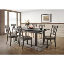 See Details - Hanover Bramble Hill 7-Piece Dining Set with Expandable Table and 6 Wood-Seat Side Chairs in Weathered Gray Finish, HDR006-7WD-WG