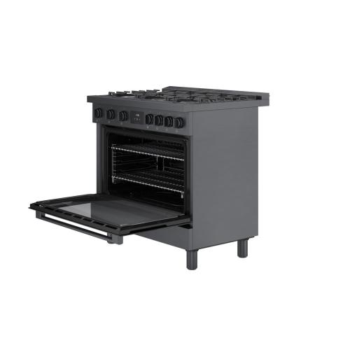 800 Series Gas Freestanding Range 36'' Black stainless steel HGS8645UC
