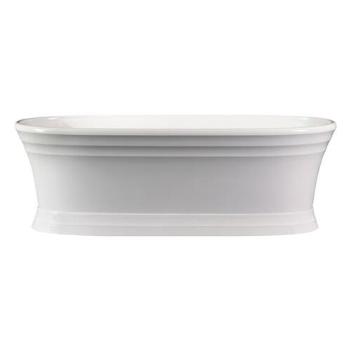 Worcester 70-3/4 Inch X 30-3/4 Inch Freestanding Soaking Bathtub in Volcanic Limestone™ with No Overflow Hole - Gloss White