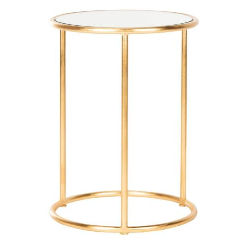 Shay Glass Top Gold Leaf Accent Table - Gold