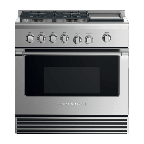 "Gas Range, 36"", 4 Burners with Griddle"