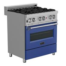 ZLINE 30 in. Professional Dual Fuel Range in Snow Stainless with Blue Matte Door (RAS-BM-30)