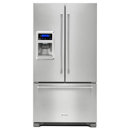 KitchenAid - KitchenAid® 20 cu. Ft. 36-Inch Width Counter Depth French Door Refrigerator with Exterior Ice and Water - Stainless Steel