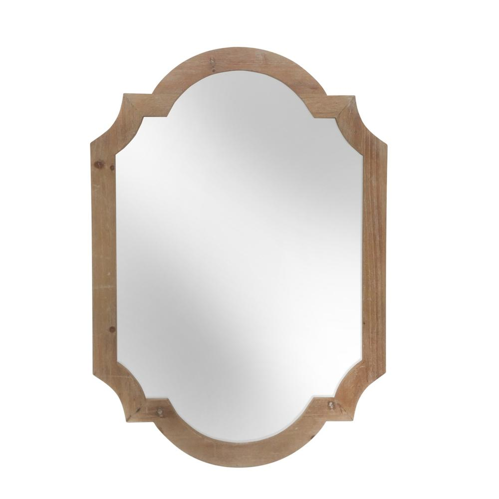 """See Details - Wood 44.5"""" Frame Wall Mirror, Brown Wb"""