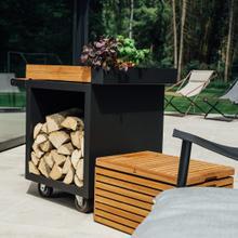 See Details - Mise en Place Table Black 65 PRO Teak Wood