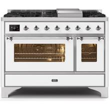 Majestic II 48 Inch Dual Fuel Natural Gas Freestanding Range in White with Chrome Trim
