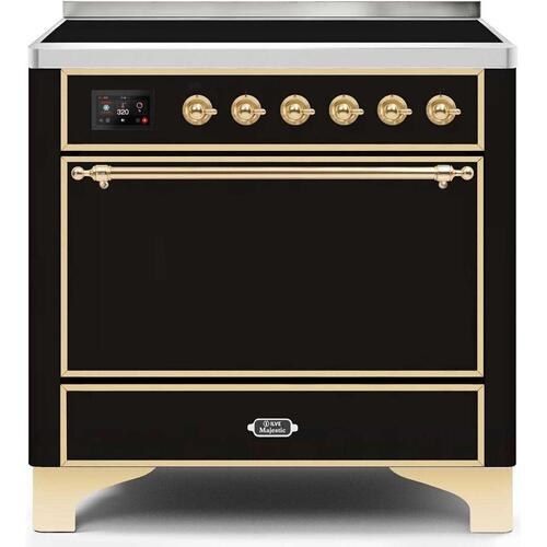Ilve - Majestic II 36 Inch Electric Freestanding Range in Glossy Black with Brass Trim