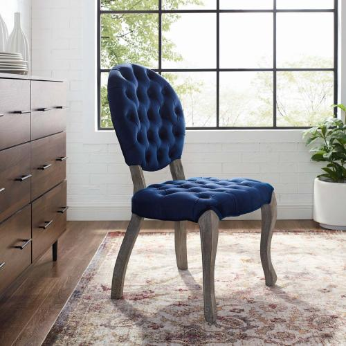 Modway - Exhibit French Vintage Dining Performance Velvet Side Chair in Navy