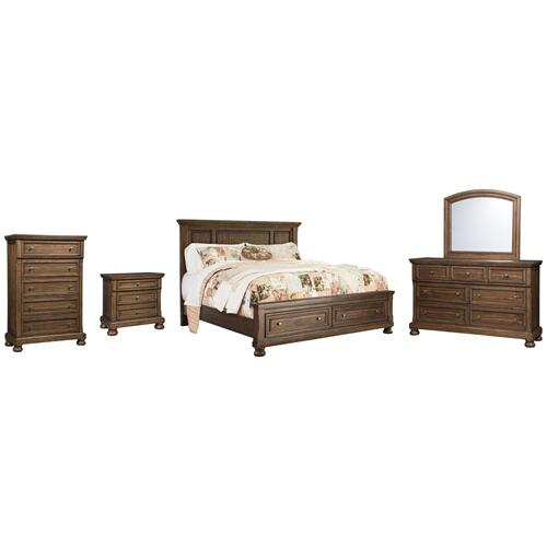California King Panel Bed With 2 Storage Drawers With Mirrored Dresser, Chest and Nightstand