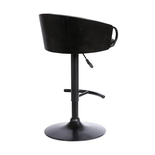 Montego Adjustable Black Faux Leather Swivel Barstool in Black Powder Coated Finish