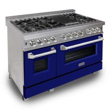 ZLINE 48 in. Professional Dual Fuel Range in DuraSnow® Stainless Steel with Blue Matte Door (RAS-BM-48)