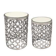 Product Image - S/2 Metal Side Table W/ Bevelled Mirror, Silver