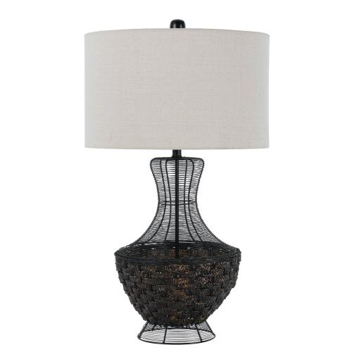 150W 3 Way Maranametal Mesh/Wicker Tabe Lamp