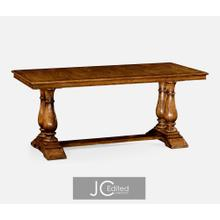 Country walnut rectangular fixed top dining table