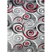 DA-414 RED Abstract Small Swirl Rug