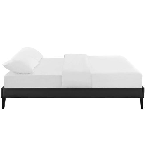 Tessie King Vinyl Bed Frame with Squared Tapered Legs in Black