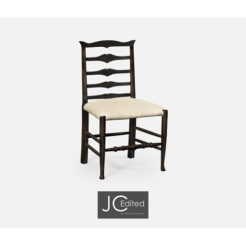Dark Ale Ladder Back Dining Side Chair, Upholstered in MAZO