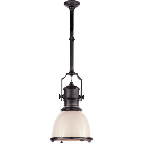 Visual Comfort CHC5133BZ-WG E. F. Chapman Country Industrial 1 Light 14 inch Bronze Pendant Ceiling Light in White Glass